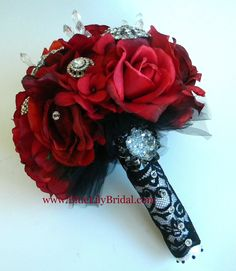 Glamorous Red Rose Rhinestone Brooch Bridal Bouquet- Made to Order. $237.00, via Etsy.