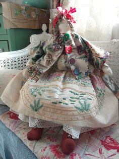 handmade rag doll - vintage hand embroidery
