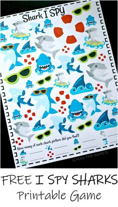 Shark I SPY Game FREE Printable is part of I spy games - This I SPY Shark Printable Game is fun for kiddos! It's an engaging and colorful way to work on counting and visual discrimination skills! Perfect activity for shark week! Shark Activities, Preschool Activities, Shark Games For Kids, Therapy Activities, Sharks For Kids, Group Activities, Preschool Curriculum, Shark Week Crafts, Shark Craft