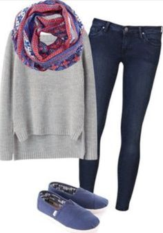 Love the scarf and navy blue Toms.