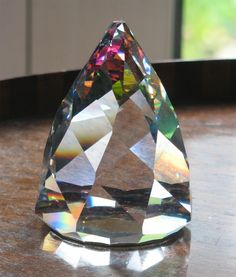Items similar to Paperweight : Swarovski Crystal Cone Rio Paperweight - VERY RARE on Etsy Swarovski Crystal Figurines, Swarovski Crystals, Cut Glass, Glass Art, Crystal Background, Quartz Geode, Glass Paperweights, Rocks And Gems, Vases