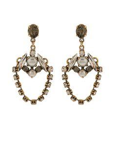Stargazer Vintage Crystal Chain Earrings