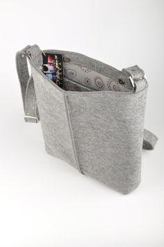 Light gray melange unisex bag Stella. Original by FELTTERRA