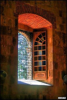 AWESOME - Make stained glass windows that open in - security or screen or protection from elements on outside - best of both worlds - beautiful windows - out of doors - BOTH. Portal, The Doors, Windows And Doors, Casement Windows, Arched Windows, Window View, Through The Window, Stained Glass Windows, Leaded Glass