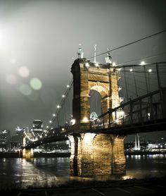 John A. Roebling Suspension Bridge in Cincinnati, Ohio