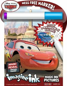 Bendon Publishing Disney Cars Magic Ink Book by Bendon Publishing. $7.99. 1 Imagine Ink Mess Free Marker, and a 24-Page Imagine Ink Game Book. Ideal for ages 3 and up. Easily Transportable and Perfect for Travel. From the Manufacturer                The Disney Cars Imagine Ink pictures book uses a mess free marker to reveal a rainbow of colors as you draw on the page. Designed to be used with the included Magic Ink Marker, a clear marker that will not visibly mark most other it...
