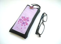 Lilac floral eyeglasses case with lanyard and pocket , black faux leather eyewear or sunglasses holder