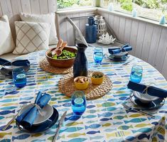 An oilcloth is made from woven cotton which is covered in polyvinyl chloride to create a waterproof coating. They give a softer drape over edges and corners. Stuart Graham, Prestigious Textiles, English House, Motif Design, Al Fresco Dining, Table Covers, Geometric Designs, Printing On Fabric, Table Settings