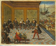 The King of Spain grants the rights to occupy and aministrer Peru to Francisco Pizarro ... Bry Johann Theodor de (1528-1598), engraver