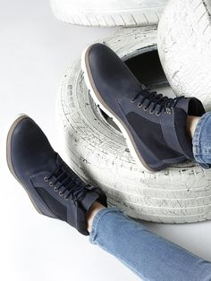 Navy Blue Leather Solid Mid Top Flat Boots  #Boot #Navy #Leather #Mid-Ankle #Lace-Up
