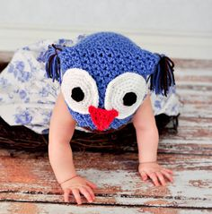 Handmade crocheted Owl jester style hat Sizes by OneStopCrochet, $20.00