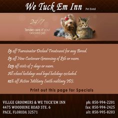Pet Daycare, Cat and Dog Boarding Services, Pet Grooming, Kennels in Pace, Florida - WE TUCK'EM INN Coupon