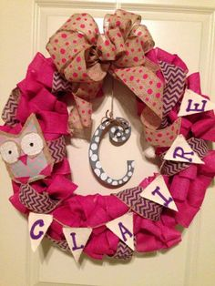 Baby Girl Pink and Purple Chevron Shower Door Hanger Burlap Owl Wreath with Name and Letter on Etsy, $79.99