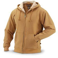 Sherpa-lined Full-zip Sweatshirt, Brown