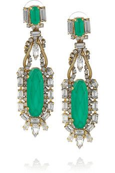 Erickson Beamon Safari 22-karat gold-plated Swarovski crystal earrings | NET-A-PORTER