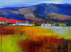 Artwork of Derric van Rensburg exhibited at Robertson Art Gallery. Original art of more than 60 top South African Artists - Since Landscape Illustration, Landscape Art, South African Artists, Bold Colors, Van Gogh, Acrylics, Flower Designs, Cuba, Ideas Para