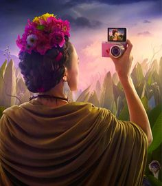 Excellent concepts developed by Leo Burnett Schweiz for the company Samsung. The theme is the selfie (self-portrait). They are collages that recreate the life, art and ambiance of three famous painters Frida Kahlo, Vincent Van Gogh and Durer.
