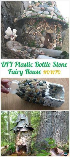 DIY Plastic Bottle Stone Fairy House Instructions - DIY Plastic Bottle Garden Projects & Ideas by victoria
