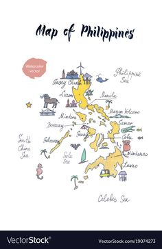 Map of philippines watercolor vector image on VectorStock Filipino Art, Filipino Culture, Voyage Philippines, Philippines Travel, Philippine Map, Mindoro, Business Stamps, Jeepney, Watercolor Journal