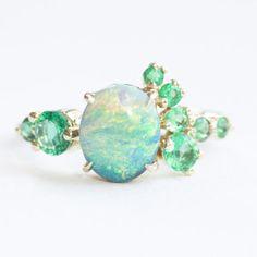 Black opal and emerald stone cluster | Mociun Custom