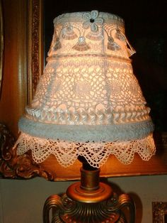 Lovely Vintage Lace Lampshade ~ Handmade OOAK Cottage Charm ~ Shabby Chic ~ Romantic Victorian ~ Layered Laces ~ Small Lamp Shade