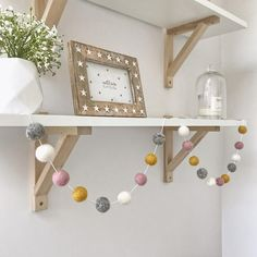 Stone and Co Felt Ball Pom Garland Dusty Pink, Natural Grey, Mustard and Natural White Baby Room Decor, Nursery Decor, Nursery Room, Bedroom Decor, Bedroom Wall, Nursery Crafts, Bedroom Ideas, Felt Ball Garland, Pom Pom Garland