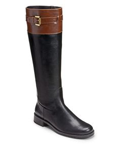 Take a look at the A2 by Aerosoles Black & Tan High Ride Wide-Calf Boot on #zulily today!