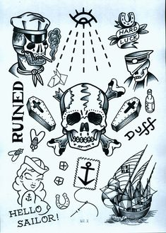 www.duncanx.com tattoo flash sheet 2