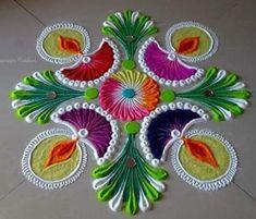 Easy Rangoli Designs Diwali, Indian Rangoli Designs, Rangoli Designs Latest, Rangoli Designs Flower, Free Hand Rangoli Design, Small Rangoli Design, Flower Rangoli, Diya Rangoli, Diwali Diy