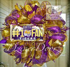 Deco mesh 1 FAN LSU Tigers  wreath by DzinerDoorz on Etsy, $80.00