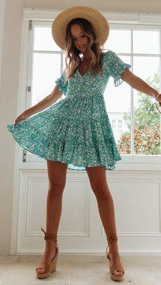Delicate Aqua Floral Skater Dress – Gabi Swimwear Source by katharinako dresses Summer Dresses Uk, Cute Summer Outfits, Spring Outfits, Cute Outfits, Day Date Outfits, Summer Sundresses, Disney Outfits, School Outfits, Dresses Elegant