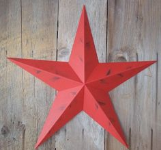 53 Inch Heavy Duty Metal Barn Star Painted Rustic Radiant Red The Rustic Paint Coverage Starts with a Black or Contrasting Base Coat and Then the Star Color Is Hand Painted on Top of the Base Coat with a Feathering Look Which Gives the Star a Distressed Appearance This Tin Barn Star Measures Approximately 53 From Point to Point Left to Right The Barnstar Is Hand Crafted Out of 22 Gauge Galvanized Steel By the Old Order Amish From Central Ohio This Size Star Will Arrive in 5 Separate Wings…