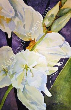 """yucca bloom 21"""" x 14""""    1/2 sheet watercolor $375.00 Giclee Prints are also available"""