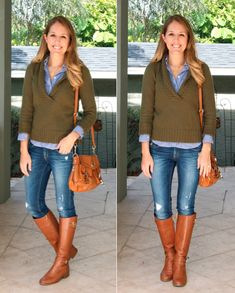 Another way to wear my well-loved, chunky, olive cardigan.