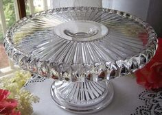 "EAPG ""Cordova"" aka ""Prim Buttress"" pattern cake stand designed & patented by John G. Lyon, O'Hara Glass Co., Pittsburgh, PA circa 1890, also made by US Glass Co. Pittsburgh, PA in 1891. debuted at the Pittsburgh Glass Show in 1890. Brandy well in platter center, 6""H x 10.25"" Outside D, 9.25"" Inside Diameter, 4.5 lb.s"