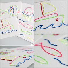 Tarjetas cosidas a mano. http://idniama.blogspot.com.es/2011/09/tarjetas-bordadas-para-despedirnos-del.html