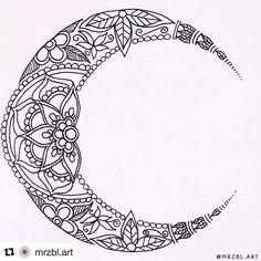 Mándala Luna Mark Tattoo, Cover Tattoo, Small Girl Tattoos, Sister Tattoos, Moon Mandala, Mandala Art, Cresent Moon Tattoo, Tattoos Mandalas, Pentagram Tattoo
