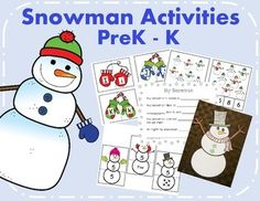 Four snowman/winter activities perfect for prek and kindergarten centers. (1) Snowman number puzzles - numbers 1-20 (2) Mitten match - matching upper and lower case letters (3) Snowman counting - count the snowmen and use bingo dots or a clothespin to cover the correct number.
