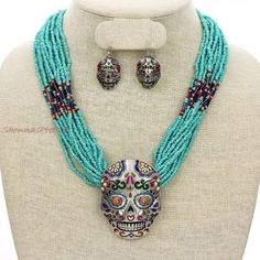 Turquoise Colorful Bead Necklace Accent Big Silver Sugar Skull Pendant Earrings Jewelry Set