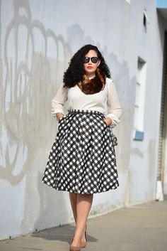 Plaid Midi Skirt, Faux Fur Snood