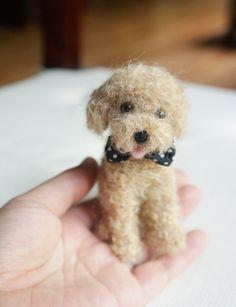 Needle Felted Apricot Toy Poodle Dog, Wool Felt Toy Poodle, Felted Animal, Mother's Day Gift, Blythe Accessory,  Miniature Animal by JanetsNeedleFelting on Etsy