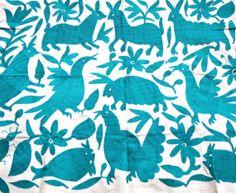 Hand embroidered Otomi Fabric 90cm x 72cm - Teal Coloured Animal, Bird  Plant Design