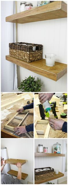 Easy floating shelves DIY tutorial. Perfect modern farmhouse decor plus storage solution for bathrooms, living rooms and bedrooms.