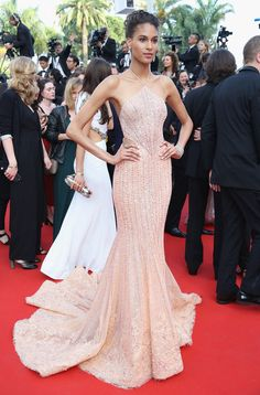 Cindy Bruna Mermaid Gown - Cindy Bruna was a standout in a champagne-hued halterneck mermaid gown by Georges Hobeika Couture at the Cannes Film Festival screening of 'The Beguiled.'