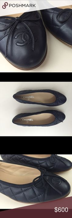 Classic Chanel Ballerina Flats / Navy Blue. Classic Chanel Ballerina Flats, in Navy Blue. Lambskin leather construction. Signature diamond quilted stitching. Almond toe with stitched 'CC' logo. Tie bow accent. Flat heel. Comes with: Dust Bag, A Dainty Stylish High-FIve.  I wore these around the house thrice to try to convince myself i'm a Navy Girl, but i own all Black.. so I'm setting them free. Basically brand new. SIZING INFO PLEASE THIS IS IMPORTANT - they're 39.5, to fit an American 8.5…