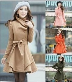 HOT SELL fashion Women lapel Slim Fit Wool Blend Trench Overcoat Skirt Long coat
