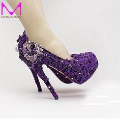 63.83$  Buy now - http://alibbd.worldwells.pw/go.php?t=32605696382 - High Heel Fashion Fower Rhinestone Bridal Shoes Purple Lace Wedding Shoes Beautiful Platform Crystal High Quality Women Pumps