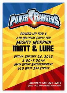 """Power Rangers Birthday Invitation - Beautiful custom cards as low as $1.15 - Planning your child's birthday party can be so much fun! It can also be stressful and frustrating...finding products to match, going store to store, etc. Let Amy'sCardCreations make it EASY for you to wow your guests. I'll create your personalized invitations, thank you notes, party favors & decor to match your theme & specifications. """"Create your own Party Pack"""" Discount Coupon Code to save 15%"""