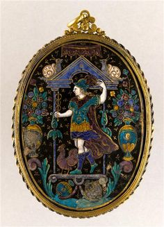 Pendant: Mercury. 2nd half 16th century. h. 0.101 m l. 0.075 m Renaissance Jewelry, Renaissance Fashion, Ancient Jewelry, Antique Jewelry, Stuart Crystal, Art N Craft, Grand Palais, Objet D'art, Medieval Art