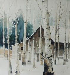 watercolor winter barn